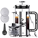 BASA French Press Coffee Maker, 34oz Teapot with 4 Level Filtration System, 4 Extra Filters,2 Spoons, BPA Free/FDA Approved,304-Grade Stainless Steel,Heat Resistant Borosilicate Glass, Silver