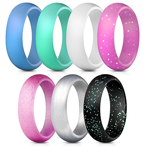 ThunderFit Silicone Rings, 7 Pack Wedding Bands for Women - 5.5 mm Wide (Ring Style Wedding)