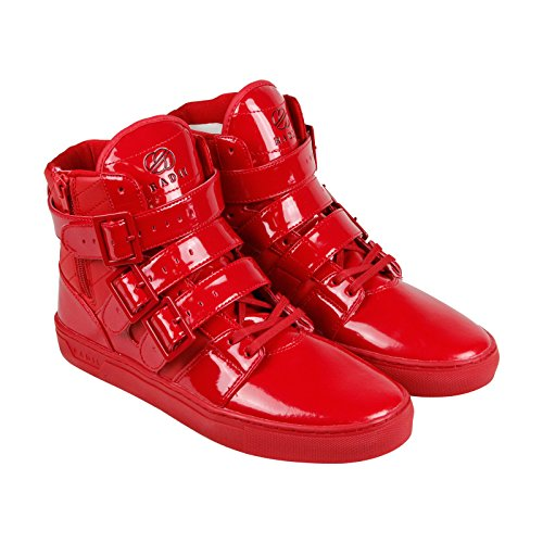 Radii Straight Jacket Mens Red Patent Leather High Top Sneakers Shoes 10.5