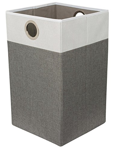 BIRDROCK HOME Folding Cloth Laundry Hamper with Handles - Dirty Clothes Sorter - Easy Storage - Collapsible - Grey and White ()