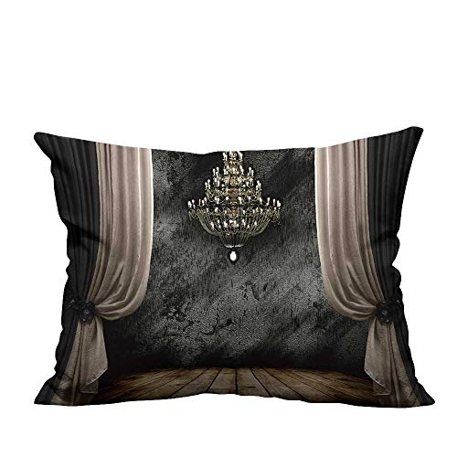 YouXianHome Decorative Throw Pillow Case Image of Grunge Dark Room Interior with Wood Floor and Chandelier Background Ideal Decoration(Double-Sided Printing) 12x16 inch