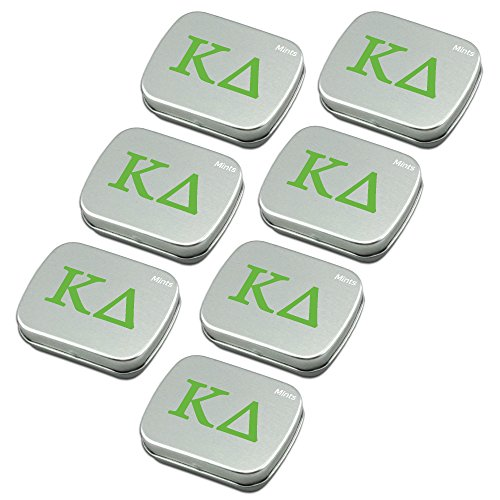 Kappa Delta Sugar-Free Peppermint Breath Mints with Decorative Tin (7-Pack of small 18.43 g tins). Great sorority gifts for Big Little Sister, Valentines, gift bags, stocking stuffers—by Worthy.