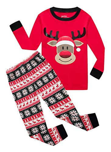 IF Pajamas Christmas Little Girls Boys Gift Pjs 100% Cotton Long Sleeve Kids Toddler Pajamas Sets Size Red -
