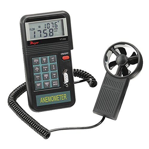 Digital Air Flow Monitor (Dwyer Model VT-200 Digital Vane Thermo-Anemometer, 0.3-45 m/s Velocity, CFM (ft³/min) and CMM Air Volume, 0 to 50° C Temperature)