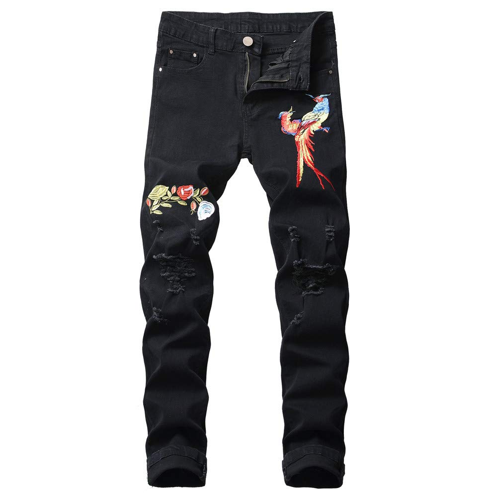 HULKAY Upgrade Men's Fashion Slim Fit Straight Leg Patchwork Embroidered Zipper Jeans Pants