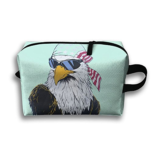 Portable Travel Toiletry Pouch Travel Bag Toiletry Bag Buggy Bag Us Bald Eagle Sunglasses Printing Clutch Bag With - Sunglasses Louis Vuittons