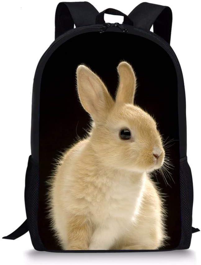 Mochila Nopersonality con estampado de animales en 3D para la escuela primaria, para niñas y niños, Conejo 5 (Negro) - Nopersonality