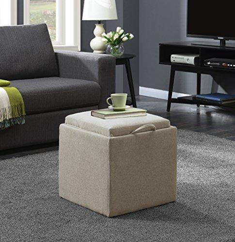 Convenience Concepts 143010FSBG Designs4Comfort Ottoman, Soft Beige Fabric