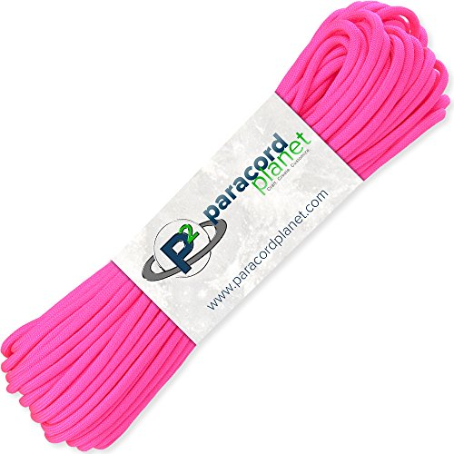 Paracord Planet 100 Hanks Parachute 550 Cord Type III 7 Strand Paracord Top 40 Most Popular Colors (Neon Pink)