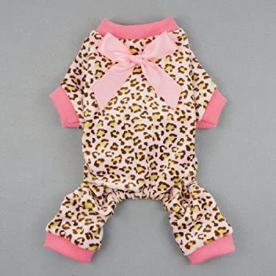 Fitwarm Leopard Print Velvet Pet Dog Jumpsuit with Ribbon