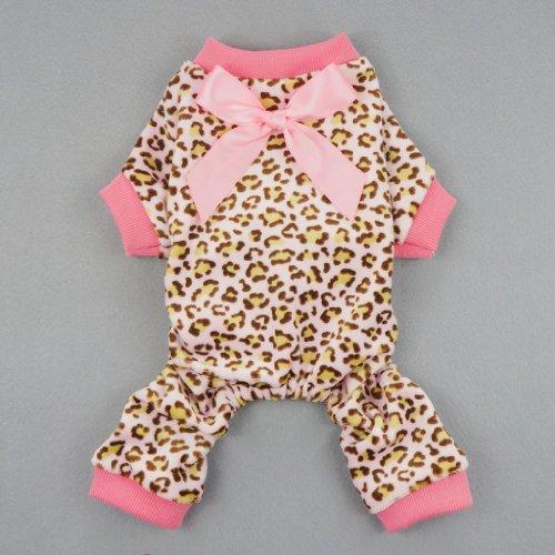 Fitwarm-Leopard-Print-Velvet-Pet-Dog-Jumpsuit-with-Ribbon