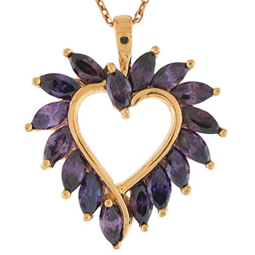 - Jewelry Liquidation 14k Yellow Gold Majestic 16 Amethyst Stone Accented Ladies Open Heart Pendant