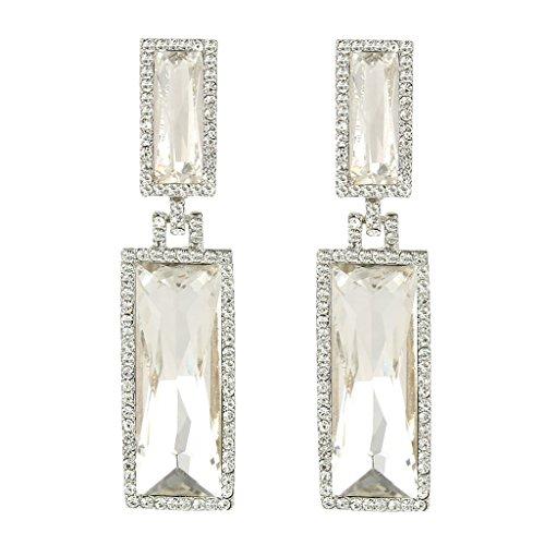 Shape Earrings Rectangle (EVER FAITH Women's Rhinestone Crystal Double Rectangle Shape Pierced Dangle Earrings Clear Silver-Tone)