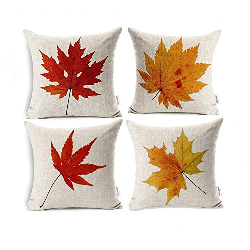 Wonder4 Maple Leaves Throw Pillow Covers Fall Decor Colorful Maple Leaves Cushion Cover Decor Autumn Leaf Pillow Cases Cotton Linen for Home Sofa Bedding 18x18 inches Set of ()