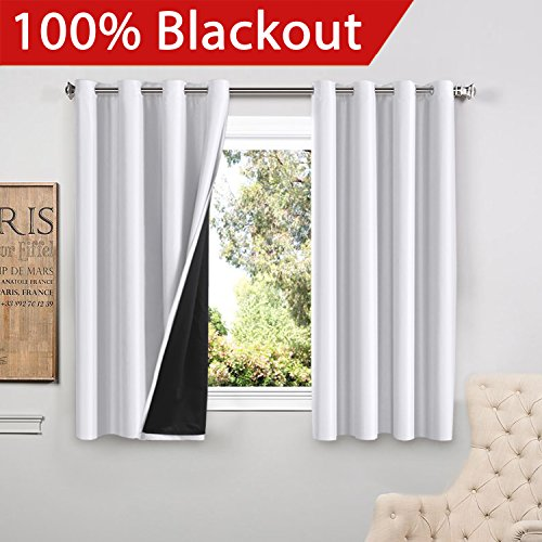 FlamingoP Full Blackout White Curtains Faux Silk Satin with Black Liner Thermal Insulated Window Treatment Panels, Grommet Top (52 x 63 Inch, Set of 2)
