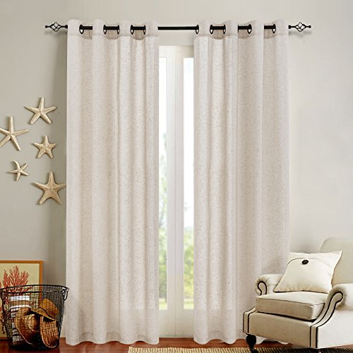 Linen Textured Curtains for Bedroom 95 inch Length Flax Linen Blend Window Curtains for Living Room Window Treatment Set Grommet Top - Crude 2 Panels (Panels 96 Burlap Curtain)