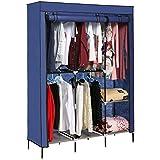 Homdox Foldable Clothes Wardrobe Closets Double Rod Non-woven Fabric Storage Organizer w/Shelves (Blue)