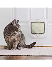 PetSafe Cat Door or Staywell Big Cat Large Cat Door for Interior Doors or Exterior Doors (Outer Size 11.4 in x 11.4 in) - 4-Way Locking, Weatherproof - For Regular Size or Large/XL Cats (up to 25 lbs)