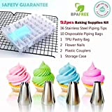 #10: Cake Decorating Supplies 52 Piece Cookie Cupcake Decorating Baking Supplies Tools Kit Icing Frosting Piping Tips with Coupler, flower nail, Pastry Bags Set
