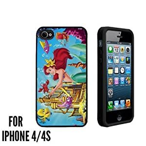 Ariel the little mermaid Custom made Case/Cover/skin FOR Apple iPhone 4/4S - Black - Rubber Case ( Ship From CA)