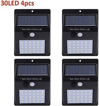 Led luz solar sensor de movimiento al aire libre jardín luz decoración cerca escalera camino patio seguridad lámpara solar 30 LED 4 pcs: Amazon.es: Iluminación