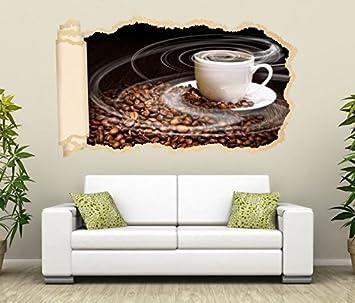 3D Wandtattoo Tapete Kaffee Tasse Coffee Bohnen Küche Wand Aufkleber ...