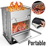 Wood Stove Camping Stove Backpacking Wood Burning Stove Mini Portable Foldable Stainless Steel Wood Cook Stove Alcohol Tiny Outdoor Camp Stove for Outdoor Hiking Picnic BBQ and Cooking (Wood Stove)