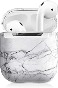 J.west Marble Airpods Case - Unique Marble Pattern Print Design Portable & Shockproof Hard Protective Cover Accessories Women Girls Men for Apple Airpods 1/2 Wireless Charging Case (White)