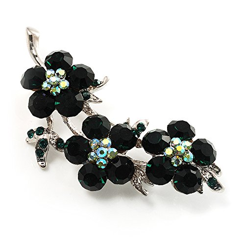 Avalaya Swarovski Crystal Floral Brooch (Silver&Emerald - Brooch Floral Emerald