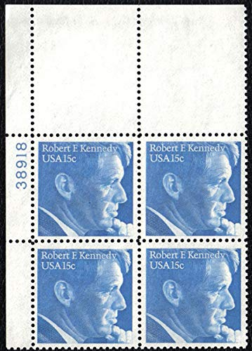 1979 ROBERT F. KENNEDY #1770a Plate Block of 4 x 15 cent US Postage Stamps