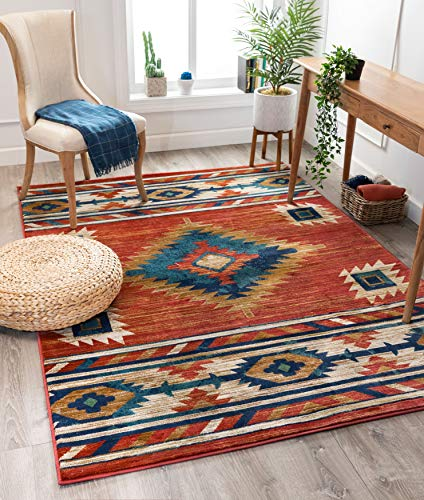 Well Woven Lizette Red Traditional Medallion Area Rug 8x10 (7'10