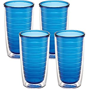 Tervis 1037269 Clear & Colorful Insulated Tumbler 4 Pack - Boxed 16 oz Tritan Sapphire