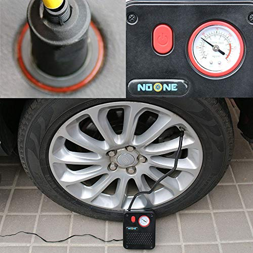 NoOne Portable Air Compressor Pump, 12V DC Mini Car Tire inflator Gauge for Car/Bicycle/Motorcycle/Ball/Air Matresses 120W 150PSI by NoOne (Image #3)