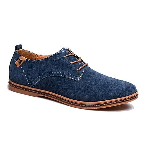 44d1fedc2c399 Chaussure de Marche au Loisir pour Homme de Grande Taille Chaussure de  Travail en Cuir Suédé à Lacets Résistant à l usure  Amazon.fr  Chaussures  et Sacs