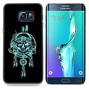 - Indian Chief Feathers Hatchet Skull - - Snap-On Rugged Hard Cover Case Funny HouseFOR Samsung Galaxy S6 Edge Plus