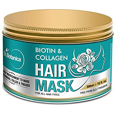 StBotanica Biotin & Collagen Strenghtening Hair Mask, 300ml - Revives Dull, Dry, Damaged Hair into Stronger, Fuller and Thicker Hair