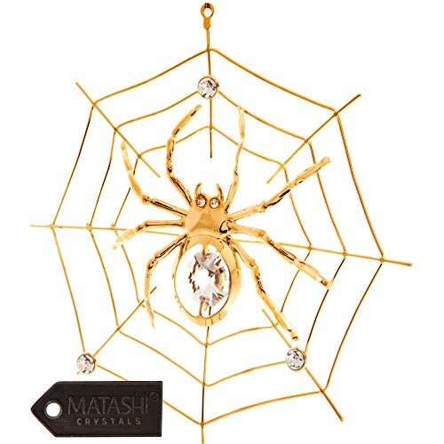 24K Gold Plated Crystal Studded Spider on Spider Web Ornament by (Spider Christmas Ornament)