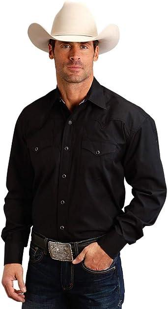 Stetson Mens Solid Poplin Snap Long Sleeve Western Shirt - 11-001-0465-9356: Amazon.es: Ropa y accesorios