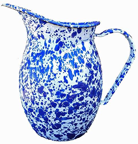Enamelware Large 2 Quart Pitcher - Blue Marble ()