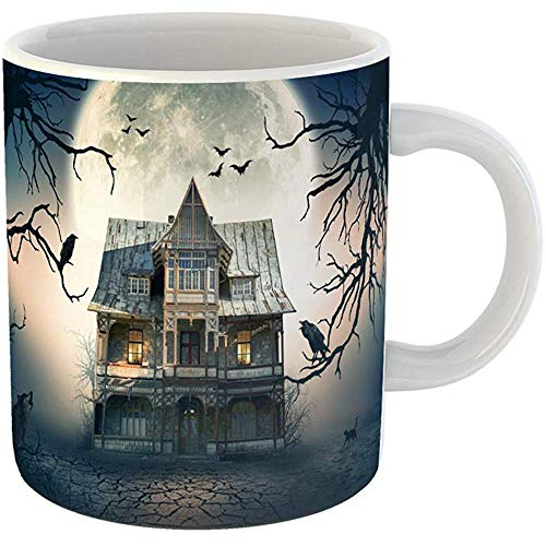 Coffee Cups Tea Mug Gift 11 Ounces Funny Ceramic Blue Movie Haunted House Full Moon in the Scene Halloween Gifts For Family Friends Coworkers Boss Mug -