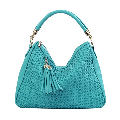 Premium PU Leather Double Tassel Interlace Braided Satchel Shoulder Bag Handbag, Mint