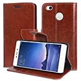 DMG Xiaomi Redmi 3s Flip Cover, Sturdy PU Leather Wallet Book Cover Case for Redmi 3s / Redmi 3s Prime (Brown)