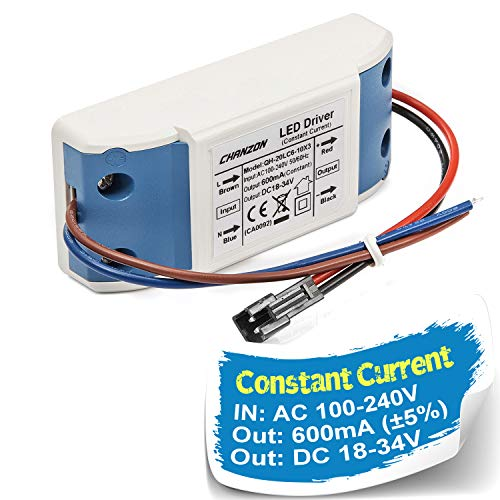 - Chanzon LED Driver 600mA (Constant Current Output) 18V-34V (In: 100-240V AC-DC) (6-10)x3W 18W 20W 21W 24W 27W 30W Power Supply 600 mA Lighting Transformer for High Power 20 W COB Chips (Plastic Case)