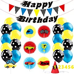 BeYumi Race Car Party Decoration Kit - Car Creatures Paper Fans and Party Hat, Colorful Cake Topper, Car themed Happy Birthday Banner and Garland, Blue Black Balloons, Let's Go Racing Themed Party Ideas for for 1-6 Year Old Kids  Features Mat...
