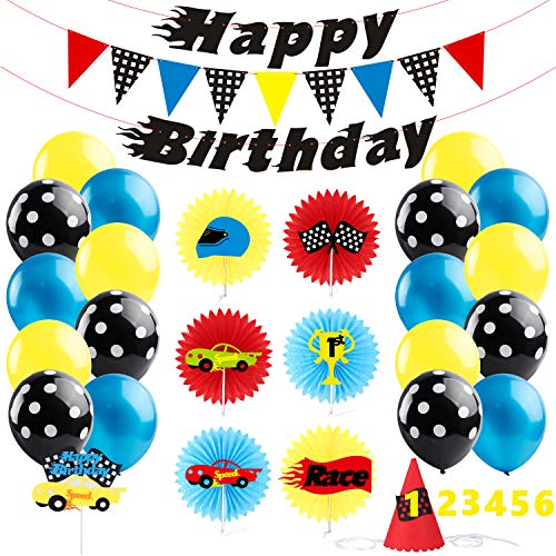 BeYumi Race Car Party Decoration Kit - Car Creatures Paper Fans and Party Hat, Colorful Cake Topper, Car Themed Happy Birthday Banner and Garland, Blue Black Balloons, Lets Go Racing Party Ideals