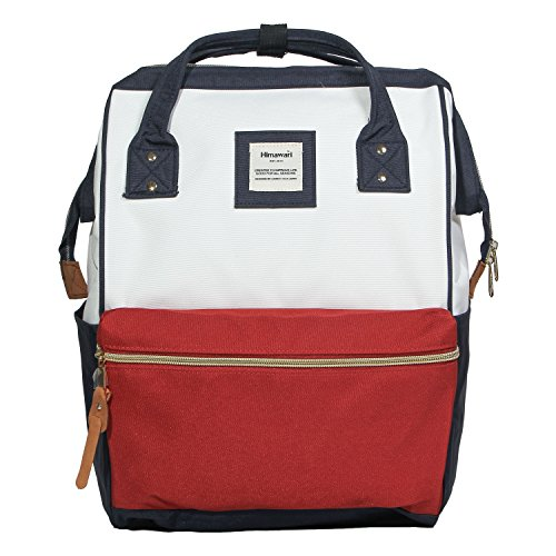 Himawari Polyester Backpack Unisex Vintage School Bag Fits 13-inch laptop Red+White