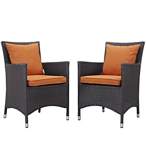 Modway Convene Wicker Rattan Outdoor Patio Dining Armchairs With Cushions in Espresso Orange - Set of 2
