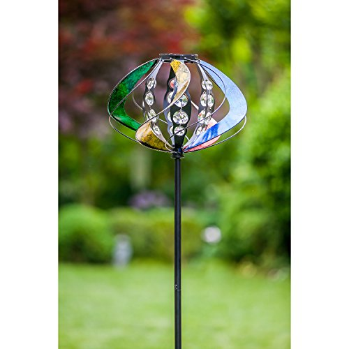 - Evergreen Crystal Rainbow Metal Sphere Wind Spinner, 60 Inches