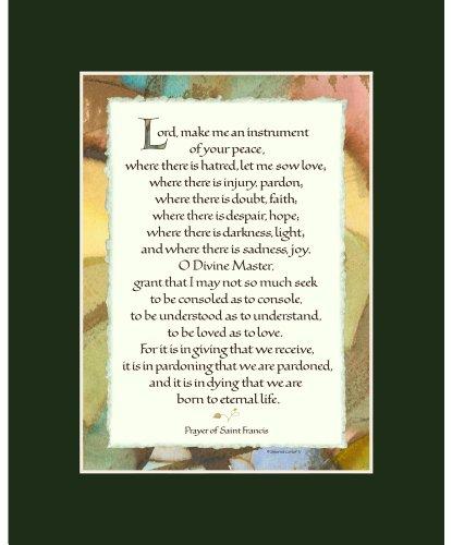 (Ink Monkey Press St Francis Prayer - Calligraphy Print - 8x10 Matted - Dark Green )