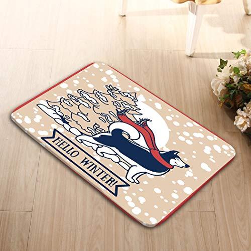- zexuandiy Non Slip Backing Entrance Rug Floor Indoor Outdoor Bathroom Doormat 23.6x15.7 Card Winter Cute Siberian Husky Christmas Tree car